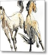 Horsing, 2013 Watercolour And Pigment On Paper Metal Print