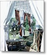 Horst's Patio In Long Island Metal Print
