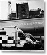 hospital accident and emergency entrance with ambulances London England UK Metal Print