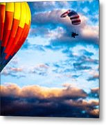 Hot Air Balloon And Powered Parachute Metal Print by Bob Orsillo