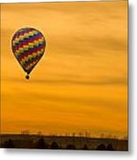 Hot Air Balloon In The Golden Sky Metal Print