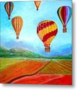 Hot Air Balloon Mural  Metal Print by Anais DelaVega