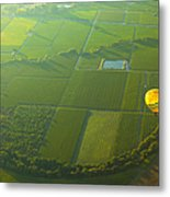 Hot Air Balloon Over Napa Valley California Metal Print