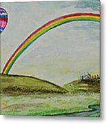 Hot Air Balloon Rainbow Metal Print