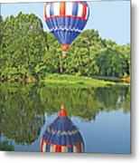 Hot Air Balloon Reflection Metal Print