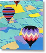 Abstract Hot Air Balloons - Ballooning - Pop Art Nouveau Retro Landscape - 1980s Decorative Stylized Metal Print