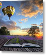 Hot Air Balloons Lavender Landscape Magic Book Pages Metal Print by Matthew Gibson