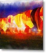 Hot Air Balloons Night Glow Photo Art 01 Metal Print