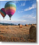 Hot Air Balloons Over Hay Bales Sunset Landscape Metal Print