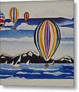 Hot Air Balloons Over Lake Tahoe Metal Print