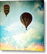 Hot Air Baloons In Blazing Sky Metal Print