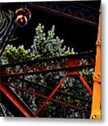 Hot Bridge At Night Metal Print