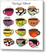 Hot Cuppa Whimsical Colorful Coffee Cup Designs By Romi Metal Print