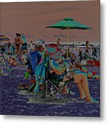Hot Day At The Beach - Solarized Metal Print