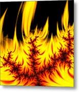 Hot Orange And Yellow Fractal Fire Metal Print