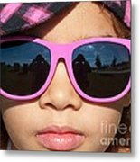 Hot Pink Sunglasses Metal Print