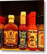 Hot Sauce Display Shelf Three Metal Print