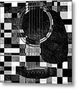 Hour Glass Guitar Random Bw Squares Metal Print