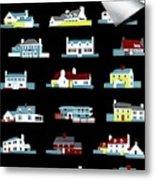 House & Garden Cover Illustration Of 18 Houses Metal Print