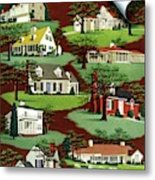 House & Garden Cover Illustration Of 9 Houses Metal Print