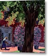 House & Garden Cover Illustration Of A Gardener Metal Print