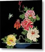 House & Garden Cover Illustration Of Peonies Metal Print