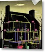 House And Garden Cover Illustration Of The Internal Metal Print