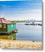 House And Boats On The River Metal Print