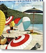 House And Garden Featuring Umbrellas On A Beach Metal Print