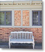 House Brick Exterior With Wood Bench Metal Print