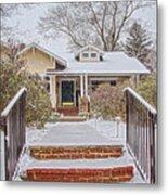 House During Winter Snowfall At Sayen Gardens Metal Print