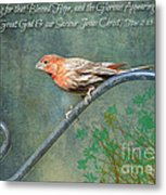 House Finch With Verse Metal Print
