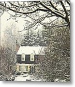 House In Snow Metal Print