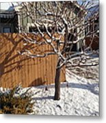 House In The Snow Metal Print