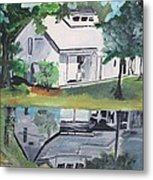 House With Lush Green Surroundings Metal Print