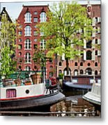 Houseboats And Houses On Brouwersgracht Canal In Amsterdam Metal Print