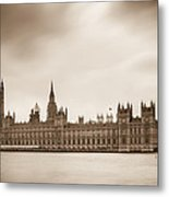 Houses Of Parliament And Elizabeth Tower In London Metal Print