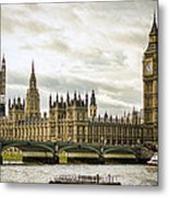 Houses Of Parliament On The Thames Metal Print