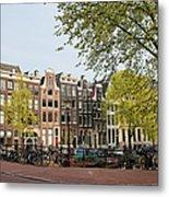 Houses On Singel Canal In Amsterdam Metal Print