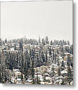 Houses On The Mountain In Winter Metal Print