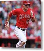 Houston Astros V Los Angeles Angels Of Metal Print