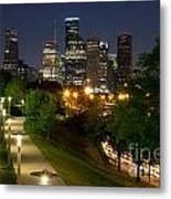 Houston At Night Metal Print