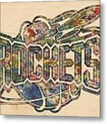 Houston Rockets Retro Poster Metal Print