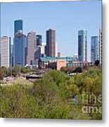 Houston Skyline And Buffalo Bayou Metal Print