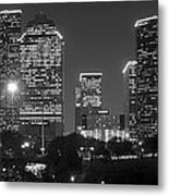 Houston Skyline At Night Black And White Bw Metal Print