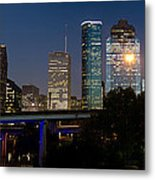 Houston Skyline At Night Metal Print