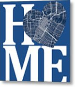 Houston Street Map Home Heart - Houston Texas Road Map In A Hear Metal Print