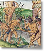 How The Indians Collect Gold From The Streams Metal Print