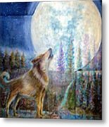 Wolf Howling And Full Moon Metal Print
