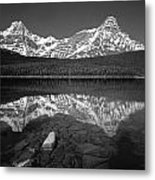 1m3643-bw-howse Peak Mt. Chephren Reflect-bw Metal Print
